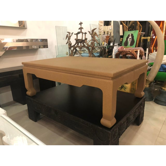 Tan Vintage Ernest C. Masi Tan Ming Lacquered Linen Raffia Coffee Cocktail Table For Sale - Image 8 of 11