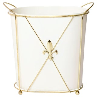 Gold Fleur De Lis Waste Basket, 2 Pcs For Sale
