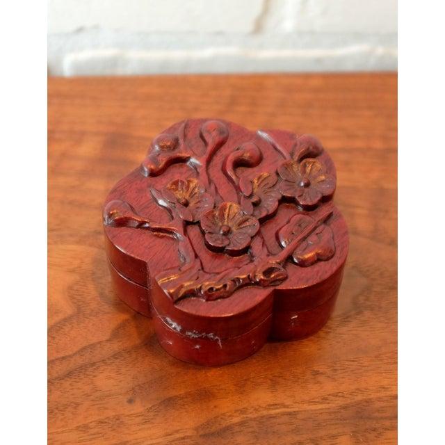 Arts & Crafts Vintage Hand Carved Floral Wooden Box For Sale - Image 3 of 6