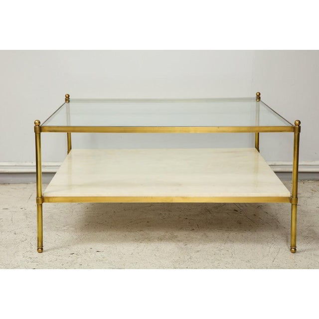 Modern Parchment and Bronze Coffee Table With Glass Top For Sale - Image 3 of 11