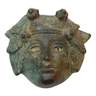 Roman Bronze Applique of the Head of Bacchus With Inlaid Glass Eye For Sale