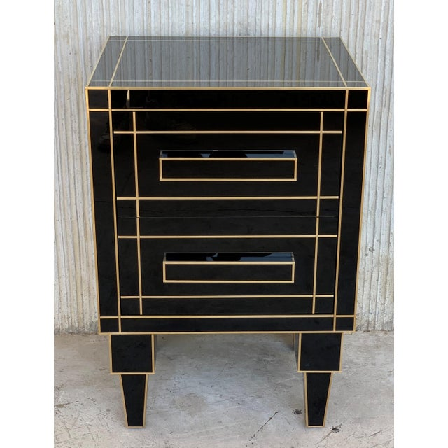 Art Deco New Pair of Mirrored Nightstands in Black Mirror With Two Drawers For Sale - Image 3 of 13
