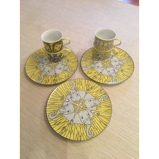 Vintage Yellow Franci Villa Vanilla Palm Beach Plates and Cups - Set of 9 Preview