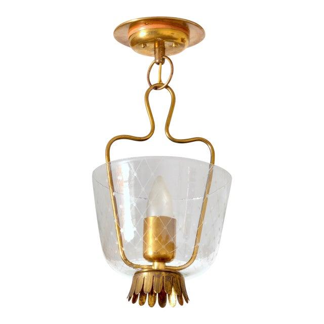 1950s Brass and Glass Eiling Lamp, Belmag, Zurich Switzerland For Sale
