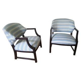 Mid-Century Silk Striped Club Chairs - A Pair