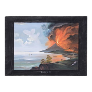Decorative Painting of Sea and Volcano, Oil Painting on Canvas, 1980s For Sale