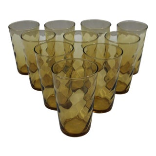Federal Depression Era Amber Juice Glasses- Set of 10 For Sale