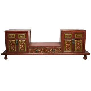 "Antique Chinese Red/Gold Lacquer Wood Display Chest/ Cabinet 76 "" W by 26.25"" H/ For Sale"
