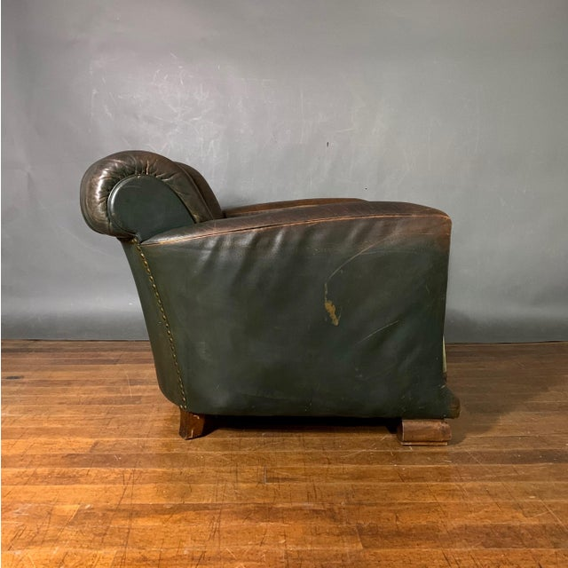 French Art Deco Green Leather Club Chair, 1930s For Sale - Image 10 of 12
