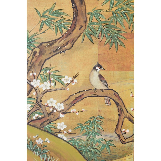 Japanese Edo Style Four-Panel Spring Landscape Screen For Sale In San Francisco - Image 6 of 13