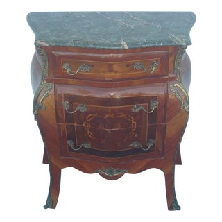 1970s French Louis XV Style Painted Marble Top Chest of Drawers For Sale