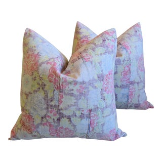 "Bohemian Chic Rose & Yellow Floral Batik Feather/Down Pillows 24"" Square - Pair For Sale"