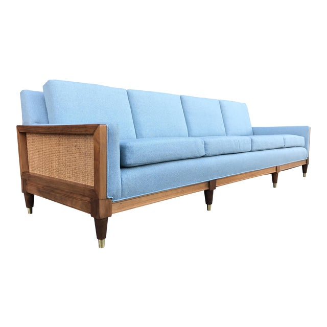 Vintage Mid Century Long Sofa For Sale
