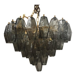 "Contemporary Murano Glass Grey ""Poliedro"" Chandelier"