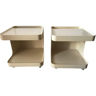 Plastic C-Shaped Side Tables - A Pair For Sale