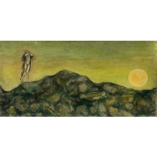 Figure on a Hill With Rising Moon by James Bone 1960s For Sale