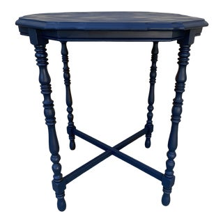Vintage Painted Baby Blue Wood Accent Table For Sale