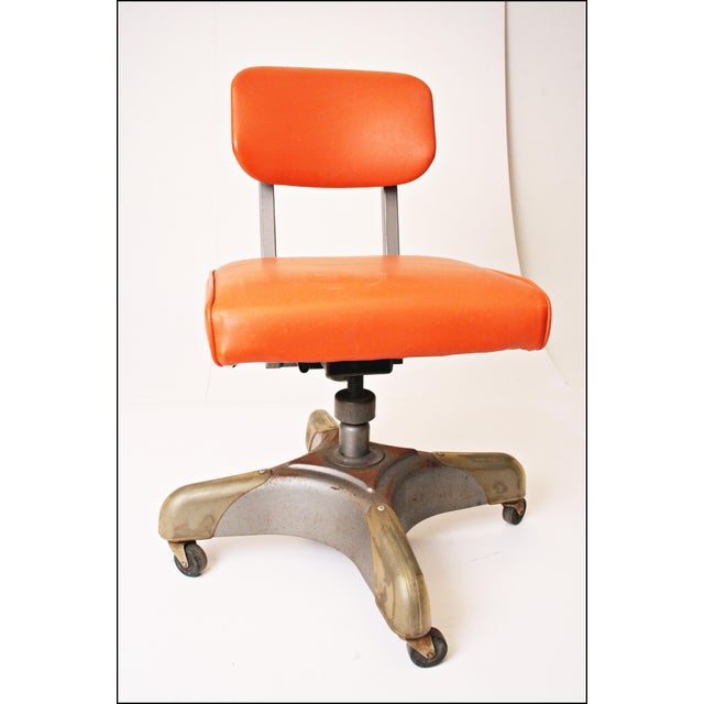 Vintage Orange Industrial Steel Office Chair - Image 5 of 11