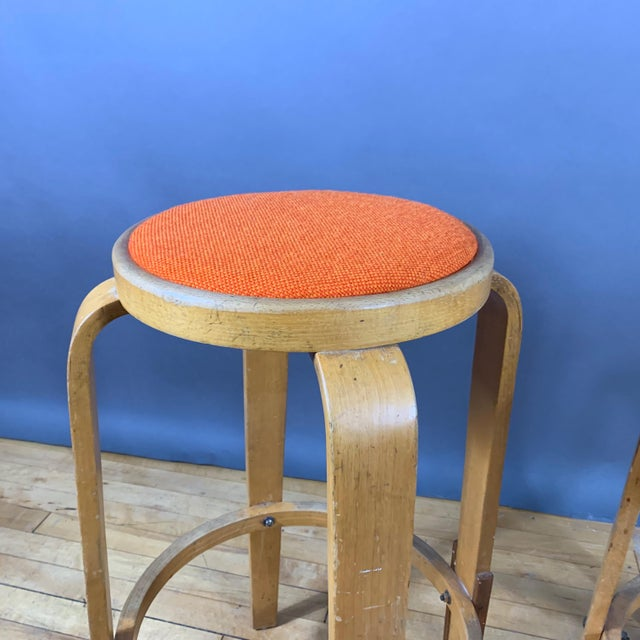"""Wood Mid-Century Bentwood Birch 26"""" Stool, Wool Upholstery For Sale - Image 7 of 9"""