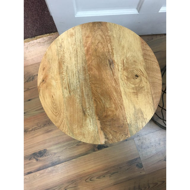 Iron Arabesco Side Table with Mango Wood Top For Sale In Denver - Image 6 of 12