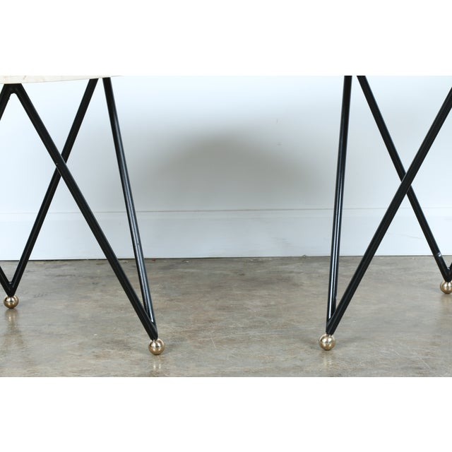 Wrought Iron Marble Top Side Tables - A Pair - Image 4 of 10