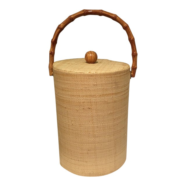 Raffia Wrapped Ice Bucket With Bamboo Handle For Sale