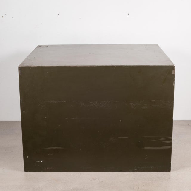 Metal Industrial Factory Two Drawer Cabinet With Brass Pulls C.1940 For Sale - Image 7 of 12