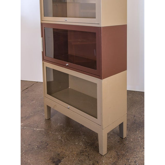 Shaw Walker Two-Tone Tall Metal Barrister Bookcases - 2 pieces For Sale - Image 4 of 9