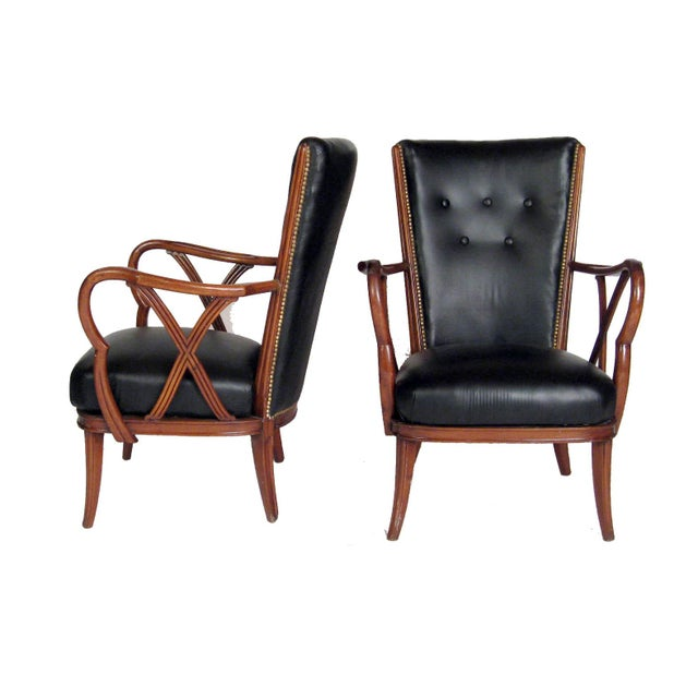 Vintage Mid Century Black Leather Amp Nailhead Accent Chairs