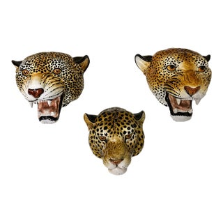 Set of 3 Large Scale Italian Teracotta Leopard Heads For Sale