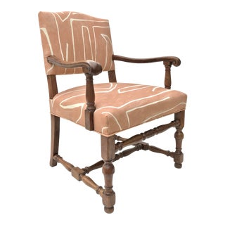 French Renaissance Revival Lounge Chair in Graffito Fabric For Sale