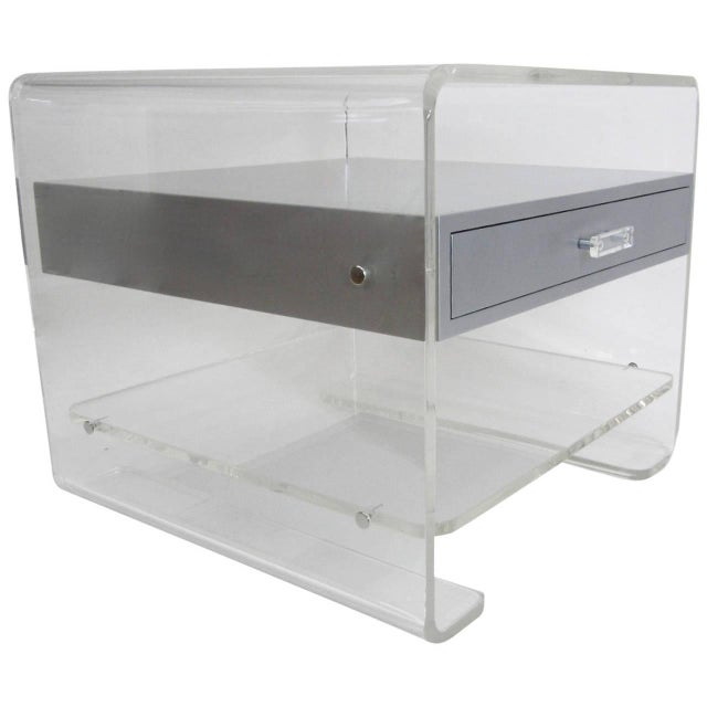 Lucite Side Table with Silver Metallic Drawer - Image 1 of 6