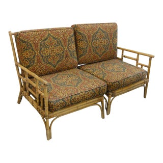 Old Florida Style Bamboo Settee For Sale