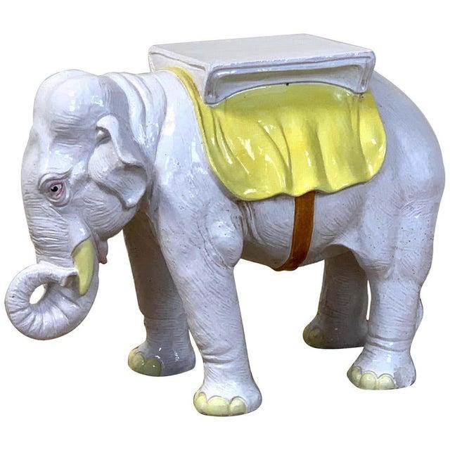 Italian Glazed Ceramic Elephant Garden Seat For Sale - Image 13 of 13