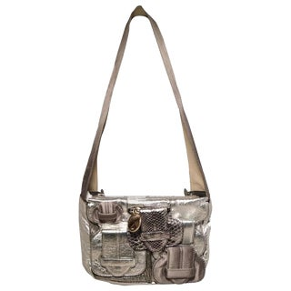 Chloe Silver Leather Satin Snakeskin Buckle Shoulder Bag For Sale