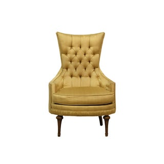 Tufted Armchair With Gold-Colored Upholstery