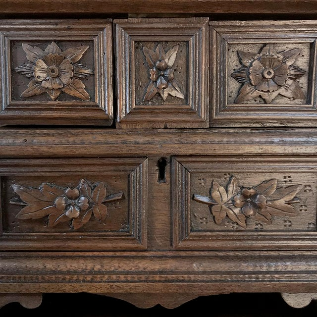 Jewelry Box, 19th Century French Hand-Carved Walnut For Sale - Image 10 of 12