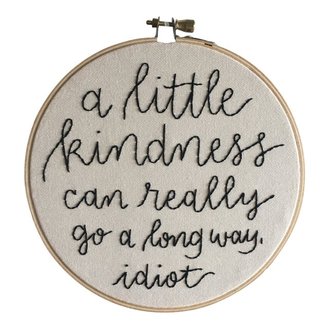 """""""A Little Kindness"""" Embroidered Textile Art For Sale"""