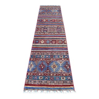 Khorjin Design Runner Red Kazak Geometric Hand Knotted Pure Wool For Sale