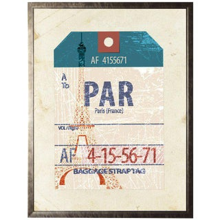Paris Travel Ticket in Pewter Shadowbox - 23.5ʺ × 29.5ʺ For Sale