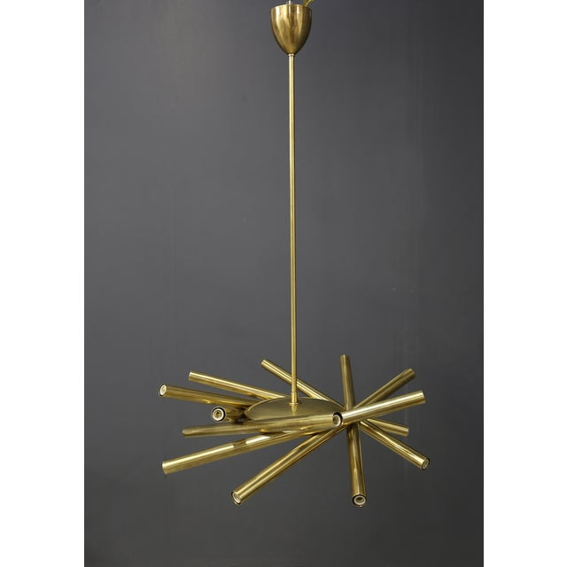 Brass Chandelier in Style Mid Century in Brass With Spokes, 2020s For Sale - Image 8 of 9