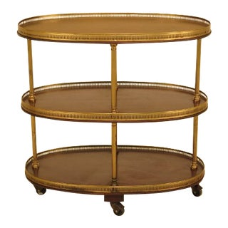 Regency Style Mahogany Brass Trimmed Tiered Table Cart