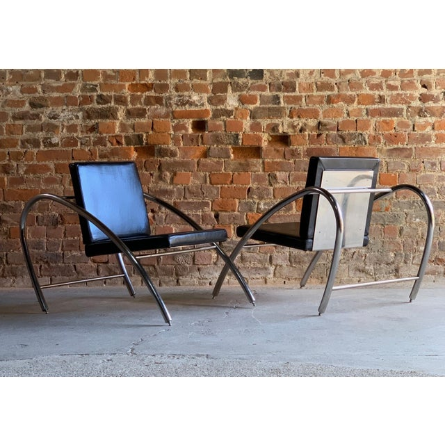 Metal Moreno Chrome & Leather Lounge Chairs by Francois Scali & Alain Domingo for Nemo - A Pair For Sale - Image 7 of 12