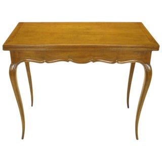 French Carved Fruitwood Cabriole Leg Flip-Top Game Table For Sale