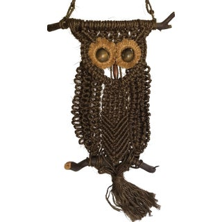 1960's Macrame Owl Hanging Wall Art For Sale