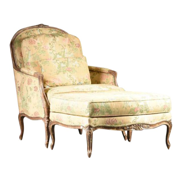 Louis XV Style Bergere & Footstool For Sale