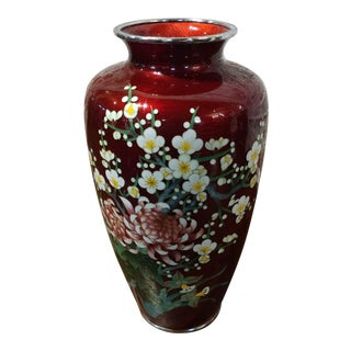 "Japanese Beautiful Red Cloisonné 12"" Vintage Flower Vase For Sale"