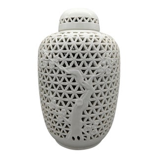 20th Century Blanc De Chine White Cut Out Ginger Jar For Sale