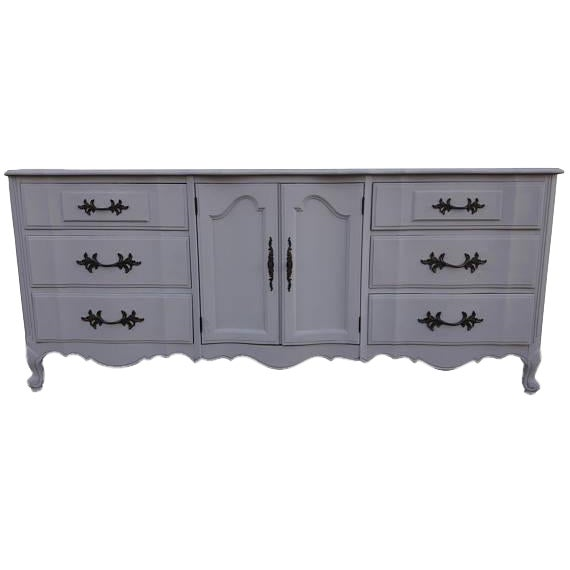 French Provincial Farmhouse Style Gray Lowboy Sideboard - Image 1 of 8