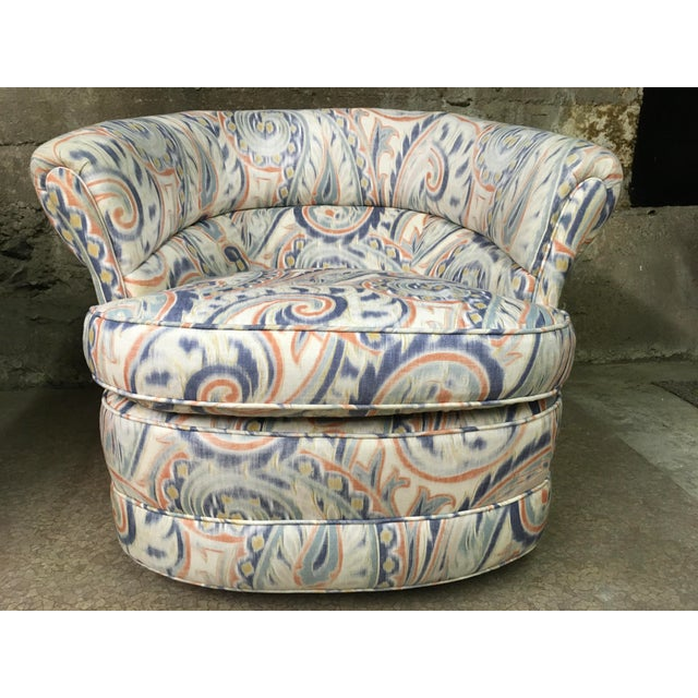 Teal 1990s Vintage Custom Sculptural Swivel Club Chairs- A Pair For Sale - Image 8 of 10